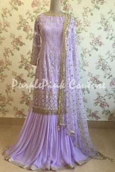 Lavender Thread Sequins Work Sharara - Custom Made - Latest Design - - Lavender Thread Sequins Work Sharara is in for any Festive Wear, also just incase you want to stand out be it formal or casual party, STYLE YOUR OUTFIT here. Pakistani Dress Design, Pakistani Dresses, Indian Dresses, Indian Outfits, Designer Party Wear Dresses, Indian Designer Outfits, Lehenga Choli Latest, Sharara Designs, Party Wear Lehenga