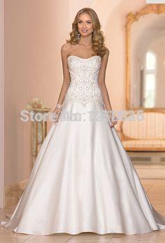 Custome 2015 Vestido de noiva renda Lace up A line Salomon Strapless Soft satin Appliques Zuhair murad Wedding dress-in Wedding Dresses from Weddings & Events on Aliexpress.com | Alibaba Group