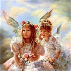 Heavenly Whisper by Sandra Kuck Two Little Angels Whispering In The Clouds in Art, Art from Dealers & Resellers, Prints | eBay