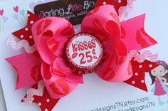 Valentine Bow  Kisses For Sale  hot pink by DarlingLittleBowShop, $8.95
