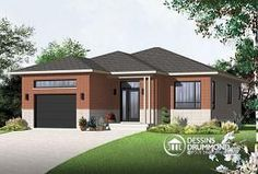 Discover the plan 3282 - Miranda from the Drummond House Plans house collection. Contemporary house plan with garage, open floor plan, large kitchen island, laundry on main floor. Total living area of 1225 sqft. Contemporary House Plans, Contemporary Style Homes, Modern House Plans, Contemporary Bedroom, Bedroom Modern, Modern Houses, Small Houses, Garage House Plans, House Floor Plans