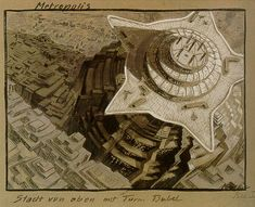 Metropolis 1927 - Film Archive - Erich Kettelhut Drawings 1925-6.  'Metropolis - Stadt von oben mit Turm Babel. Bild I.' City from Above with Tower of Babel, Image No.1, gouache on cardboard, 39.2 x 52.6 cm. (c) Filmmuseum Berlin - Deutsche Kinemathek