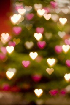 Shimmery christmas tree hearts