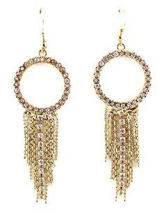 Gold Diamond Chain Tassel Dangle Earrings US$5.26