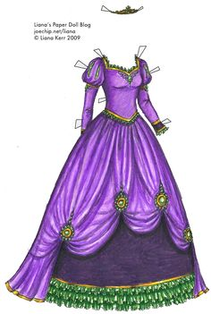 This isn't a real dress, but it's exactly what I'm imaging wearing for Halloween. Liana's Paper Doll Blog » 1885 Black and White Ballgown for Coloring, plus Purple and Green Princess Gown