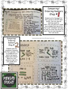 Panicked Teacher's Blog: Math Journals and Interactive Notebooks: Part 2 Comparing and Ordering Numbers