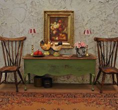 French Country Boxwood Green Console 1/12th Scale Dollhouse Miniature Furniture