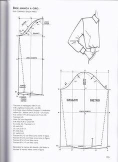 from La tecnica dei modelli uomo donna 1 sleeve Pattern Drafting Tutorials, Mens Sewing Patterns, Coat Patterns, Clothing Patterns, Pattern Draping, Bodice Pattern, Sleeve Pattern, Mens Shirt Pattern, Jacket Pattern