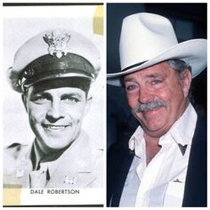 "Dayle Lymoine ""Dale"" Robertson (born July 14, 1923) is an American actor. He enlisted in the US Army, serving as a private in the Horse Cavalry in 1942. He was promoted to tank commander in the 777th Tank Nattalion in North Africa. He advanced to 1st Lieutenant with 332nd Combat Engineers in Patton's 3rd Army. He was wounded twice."