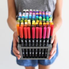 Tombow Dual Brush Pens - the best brush pens for lettering. I will give my first borne child.oh wait, I didn't have kids. Tombow Markers, Tombow Dual Brush Pen, Brush Markers, School Stationery, Cute Stationery, Stationary, Stationery Store, Best Brush Pens, Brush Pen Art