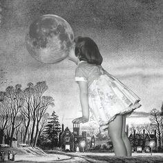 SATO MASAHIRO ~ Q-TA * Japan * http://q-ta.net/ *  Surreal Collages *   佐藤 正浩 ** black n white ~ chewing gums
