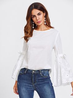 SheIn offers Belted Eyelet Embroidered Fluted Sleeve Top & more to fit your fashionable needs. Womens Fashion Casual Summer, Winter Fashion, Hijab Fashion, Fashion Outfits, Fashion Belts, Corsage, College Fashion, Blouse Styles, African Dress