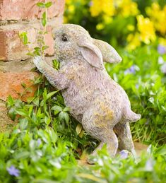 Our Standing Rabbit Garden Statue will steal the hearts of guests, visitors and garden fairies … Resin Garden Statues, Garden Animal Statues, Fairy Statues, Rabbit Sculpture, Stone Sculpture, Rabbit Garden, Easter Garden, Garden Fountains, Fountain Garden