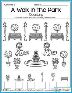 In this summer worksheet kids count how many of each item they see in the park and write how many in the boxes at the bottom of the page. What would your kids do if they were in this park? Play hide and go seek, run around, put their hands in the fountain or sit on the benches? Please see my July Counting Worksheets set of 30 pages (of which this is one). I'm betting you and your kids will love the worksheets. :) Counting Worksheets For Kindergarten, Summer Worksheets, Graphing Worksheets, Alphabet Tracing Worksheets, Counting For Kids, Kids Count, Writing Lines, Upper And Lowercase Letters, Business For Kids