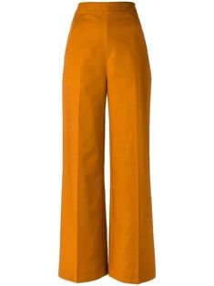Orange high waist pants from Andrea Marques featuring a waistband diagonal pockets and a side zip fastening. Designer Style ID: CALC… Orange Pants Outfit, Studio 54 Style, Tube Top Outfits, Cos Alto, Wide Leg Linen Pants, High Rise Pants, Trousers Women, Shorts, High Waist