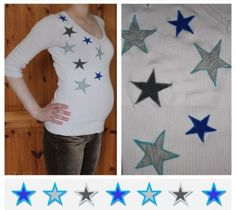 Neugestaltung eines leicht fleckigen Shirts mit Jersey-Sternen Refashion, Crafting, Kids Rugs, Diy, Shirts, Home Decor, Love Girlfriend, Stars, Kids
