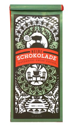 "Salt Lake City graduate Jill De Haan recently completed this Swiss hot chocolate packaging design which draws its inspiration from the Swiss ""Schrerenshnitt"" paper cutting style."