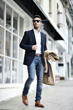 1175 best mens fashion images in 2019 man style, clothes for men  classy business look with navy blue suit \u0026 camel overcoa t