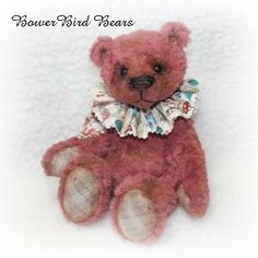 Daren Bear 8 inches high made from hand dyed Italian viscose Now ADOPTED!
