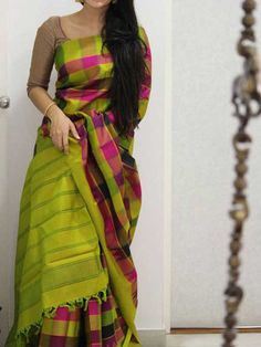 Poly Silk Green Saree with Matching Color silk Blouse. It contained of Printed. The Blouse which can be customized up to bust size This Unstitch Saree Length mtr including mtr Blouse. Soft Silk Sarees, Chiffon Saree, Cotton Saree, Brocade Saree, Kanjivaram Sarees, Cotton Silk, Saree Color Combinations, Indian Beauty Saree, Indian Sarees