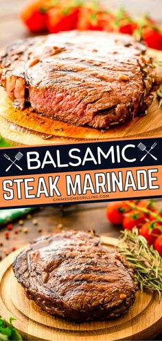 Balsamic Steak Marinade is a flavorful steak marinade that comes together quickly. Simply combine the ingredients and marinate your steak overnight and grill the next day for a few minutes. You'll get a juicy and tender steak perfect for summer grilling and the 4th of July! Summer Grilling Recipes, Potluck Recipes, Steak Recipes, Side Dish Recipes, Sauce Recipes, Easy Dinner Recipes, Summer Recipes, Dinner Ideas, Easy Homemade Recipes