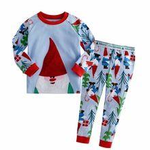 2017 Boys Girls 2 Piece Pajama Set 100% Cotton Christmas Kids Pajamas Pants Santa Claus Snowflake Reindeer Nightwear Clothes Set(China (Mainland))