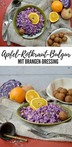 Veganes Rezept mit Bulgur: Apfel-Rotkraut-Bulgur mit Orangen-Dressing #vegan