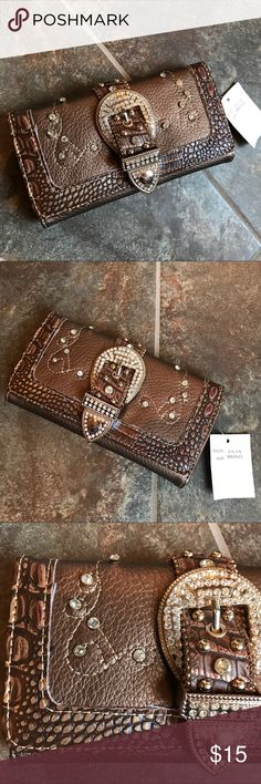 Rhinestone Belt Buckle Wallet Brand new. Never used. Bags Wallets