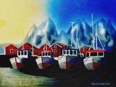 Good Friday #mountains #Norway #Boats #Nature #colorful #sunshine #quiet #Lofoten Lofoten, Good Friday, Mountain S, Norway, Boats, Craft Supplies, Sunshine, Colorful, Etsy Shop