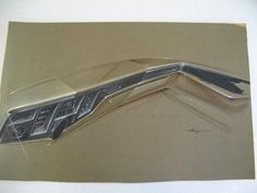 18-1/4 X 29-1/4. Brown canson paper on board; Lincoln dashboard; prismacolor, ink & gouache; Original signed Gump (3-7-69).