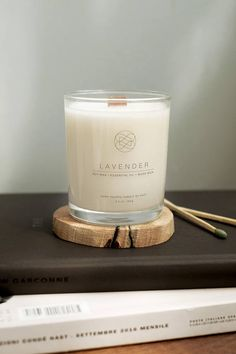 Hand Poured Soy Eco Candles With Wood Wick - Lavender Essential Oil - Cherry Wood Coaster - Natural Candle - Vegan Candle - Long Burning
