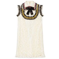 Gucci Cluny Lace Dress With Embroidery (3,635 SGD) ❤ liked on Polyvore featuring dresses, ready to wear, women, white embroidered dress, sequin cocktail dresses, flower lace dress, white lace dress and flower dress