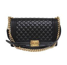 2015 Chanel Medium/Large Le Boy Black Calf Leather Brushed Gold Hardware Bag Like New | Buya