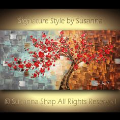 Original Contemporary gallery fine art by Susanna - Abstract landscape art, red cherry blossom tree - thick impasto texture modern palette knife