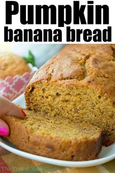 Pumpkin banana bread recipe is here! Perfect breakfast, brunch or dessert paired with a cup of coffee this holiday season or year round. If you love banana and pumpkin bread this is a great twist on your traditional sweet bread recipe. Pumpkin Banana Bread, Banana Bread Recipes, Pumpkin Recipes, Easy Pumpkin Bread, Overripe Banana Recipes, Loaf Recipes, Recipes Dinner, Potato Recipes, Casserole Recipes