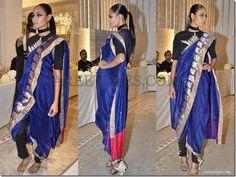 saree by Anamika Khanna - i like the blue saree itself but not the way its tied