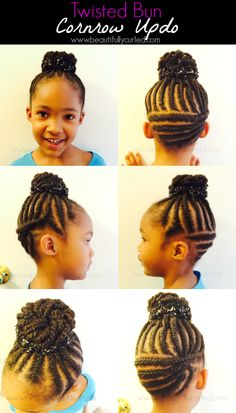 Beautifully Curled | Embracing The Beauty and Care Of Natural Hair: Twisted Bun Cornrow Updo
