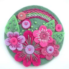 'OVER THE RAINBOW' FELT FLOWER BROOCH by APPLIQUE-designedbyjane, via Flickr