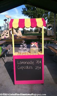 my Lemonade Stand project, completed! I don't know about yours, but my kids LOVE to sell lemonade on hot, summer days! Kids Outside Playhouse, Kids Lemonade Stands, Bake Sale, Jouer, Summer Fun, Summer Days, Diy Crafts For Kids, Craft Fairs, First Birthdays