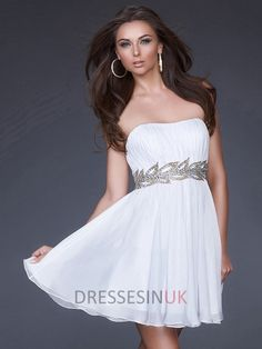 A-line Strapless With Appliques Short Pleated Chiffon Prom Dresses 2013 UK sale online www.dressesinuk.co.uk