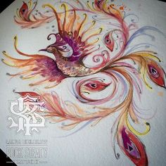 Phoenix painting done a while back for the fantastic fire sleeve (at Rock Steady Tattoo UK) Kunst Tattoos, Neue Tattoos, Body Art Tattoos, Sleeve Tattoos, Phoenix Tattoo Feminine, Phoenix Back Tattoo, Feminine Back Tattoos, Pretty Tattoos, Beautiful Tattoos