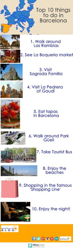 #Infographic: Top 10 things to do in #Barcelona #tourism #travel