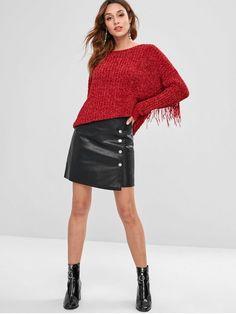 67151b7bb3 Buttoned Faux Leather Pelmet Mini Skirt - BLACK L Jean Skirt, Leather Skirt,  High
