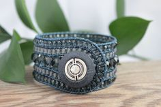 Denim+Beaded+Leather+Wrap+Cuff+5+Row+Denim+by+BearCreekCollection,+$70.00