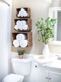 49 Clever Small Bathroom Decorating Ideas Bathroom Storage Ideas are always hard. 49 Clever Small Bathroom Decorating Ideas Bathroom Storage Ideas are always hard to come by because you never really know what to expect. Bathroom Towel Storage, Diy Bathroom Decor, Bathroom Interior Design, Budget Bathroom, Bathroom Designs, Simple Bathroom, Bathroom Furniture, Neutral Bathroom, Bedroom Storage