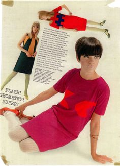 Mod geometric-patterned dresses (1960s Foale and Tuffin advertisement)