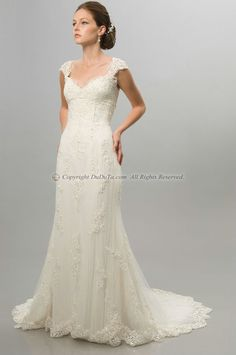 I love this A-line Lace V-neck Straps Empire Short Sleeve Sweep Appliques Wedding Dresses, Wedding Dresses, Bridal Dresses, Bridal Wedding Dresses