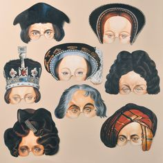 Historical Figures in paper mask form by Mamelok  22.00, via Etsy.  Lots of other characters can be seen at http://www.etsy.com/shop/Mamelok?ref=seller_info