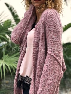 Hand knit cardigan Womens knitted cardigan Pink Midi cardigan Alpaca Viscose Knitwear to order Knitting patterns Womens sweater Oversize – Knitting Cardigan Hand Knit Scarf, Knit Cardigan, Crochet Wool, Baby Alpaca, Easy Knitting, Knitting Patterns, Casual Street Style, Cardigans For Women, Casual Dresses For Women