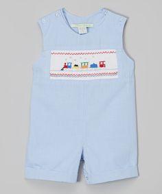 Look what I found on #zulily! Blue Gingham Train Shortalls - Infant #zulilyfinds